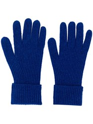 N.Peal Ribbed Knit Gloves Blue