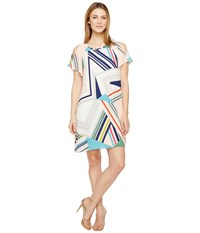 Adrianna Papell Striped Maze Cold Shoulder Trapeze Dress Blue Green Multi Women's Dress
