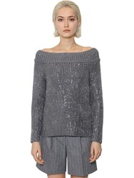 Ermanno Scervino Off The Shoulder Wool Knit Sweater Grey