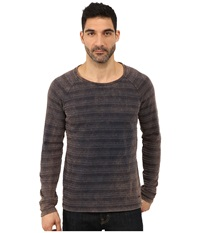 Boss Orange Tantillo H Engineered Jacquard Striped Long Sleeve Crew Knit Navy Men's Long Sleeve Pullover