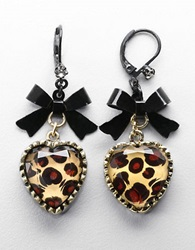Betsey Johnson Leopard Print Heart And Bow Drop Earrings Antique Goldtone