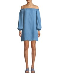 7 For All Mankind Off The Shoulder Blouson Sleeve Chambray Short Dress Blue