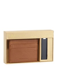 Neiman Marcus Magnetic Wallet And Phone Charger Set Tan