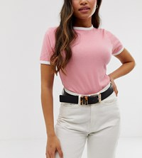 Glamorous Black Waist And Hip Jeans Belt With Tort Resin Detail