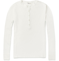 Schiesser Ribbed Cotton Jersey Henley T Shirt White