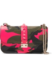 Valentino Rockstud Printed Neon Canvas And Leather Shoulder Bag Army Green
