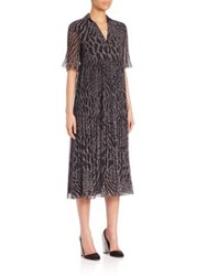 Giamba Leopard Print Georgette Midi Dress Grey Leopard