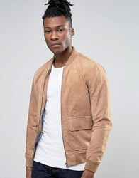 Pepe Jeans Suede Bomber Jacket Brown