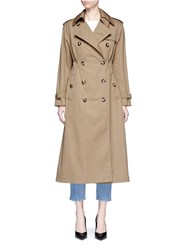 Valentino 'Rockstud Untitled 01' Gathered Waist Trench Coat Brown
