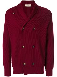 Maison Flaneur Shawl Lapel Double Breasted Cardigan Men Wool 48 Red