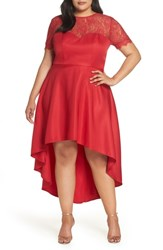Chi Chi London Plus Size Lace Dip High Low Dress Red