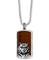 Effy Men's Tiger Eye 35 1 2 X 19Mm Tiger Pendant Necklace In Sterling Silver And Black Rhodium Brown