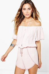 Boohoo Crochet Trim Off The Shoulder Playsuit Nude