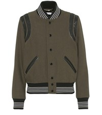 Saint Laurent Leather Trimmed Wool Bomber Jacket Green