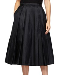 Alex Evenings Plus Solid Pleated Skirt Black