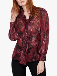 Monsoon Synthia Snake Print Bow Neck Blouse Red