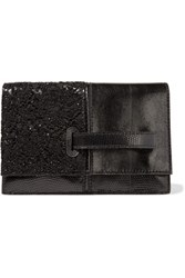 Valentino Embellished Lace Paneled Lizard Clutch Black