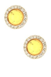 Cara Accessories Crystal Trimmed Round Cabochon Stud Earrings Yellow