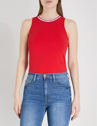5Cm Ribbed Trim Sleeveless Cotton Jersey Top Red