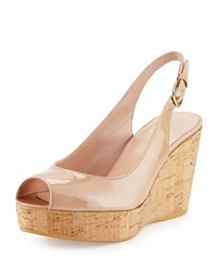 Stuart Weitzman Jean Patent Leather Peep Toe Wedge Adobe