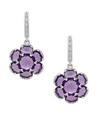 Lord And Taylor Amethyst Diamond Sterling Silver Floral Drop Earrings Purple