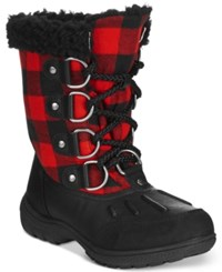London Fog Women's Uxbridge Lace Up Cold Weather Boots Women's Shoes Red Buffalo Plaid
