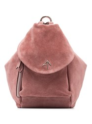 Manu Atelier Pink Micro Fernweh Suede Backpack Pink And Purple