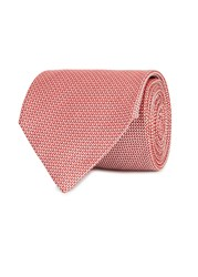 Oscar Jacobson Red Jacquard Silk Tie Red And White