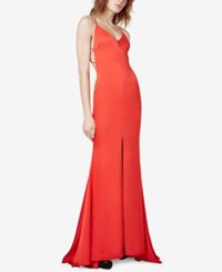 Fame And Partners Strappy Back Fishtail Slit Gown Cherry Red