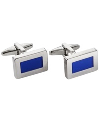 Kenneth Cole Reaction Polished Cufflinks With Blue Cateye Center