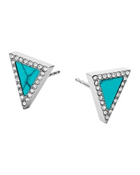 Silvertone Pave Triangle Stud Earrings Michael Kors