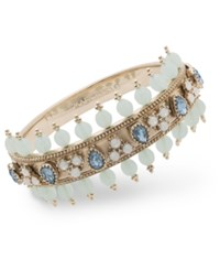 Marchesa Crystal And Imitation Pearl Bangle Bracelet Blue