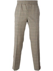 Palm Angels Houndstooth Print Pants Nude And Neutrals