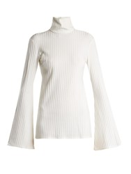 Ellery Mescaline High Neck Ribbed Top White