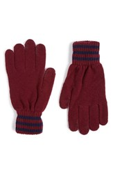 Polo Ralph Lauren Men's Rugby Stripe Wool And Cashmere Gloves Classic Wine French Navy