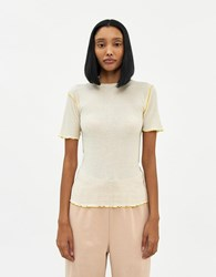 Baserange Vein Short Sleeve Rib Top In Off White Size Extra Small