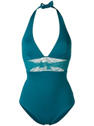 Fisico Mesh Panel Halter Swimsuit Blue