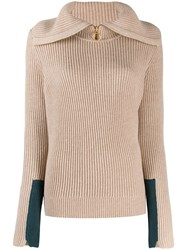 Tory Burch Folded Neck Ribbed Jumper Neutrals