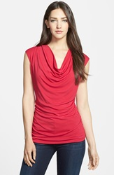 Classiques Entier Cowl Neck Silk Blend Top Regular And Petite Red Persia