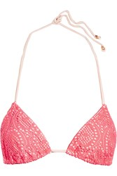 Eberjey Boho Beautiful Gisele Crocheted Bikini Top Pink
