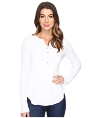 Splendid Thermal Mixed Media Henley White Women's Long Sleeve Pullover
