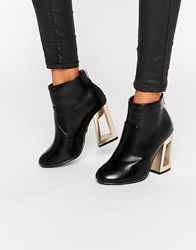 Daisy Street Gold Detail Heeled Ankle Boots Black Pu