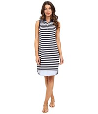 Tommy Bahama Paradise Stripe Sleeveless Polo Dress Ocean Deep Women's Dress Blue