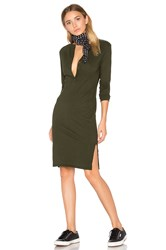 Bobi Long Sleeve Button Front Dress Green
