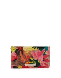 Jessica Mcclintock Noral Floral Straw Convertible Envelope Clutch Multi Colored