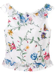 Goat Embroidered Flower Top White