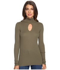 Lamade Harley Turtleneck Olive Night Women's Long Sleeve Pullover Green