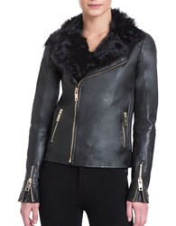 Badgley Mischka Irina Fur Collar Zipped Leather Jacket Black