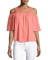 Ella Moss Medallion Crochet Cold Shoulder Top Coral