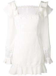 For Love And Lemons Lace Detail Mini Dress Women Silk Linen Flax Polyester Xs White